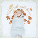 Personalised Autumn Leaves New Baby Blanket