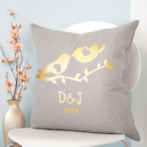 Personalised Metallic Gold Love Birds Cushion - personalised wedding gifts