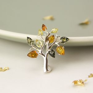 Sterling Silver Amber Tree Of Life Brooch - pins & brooches