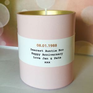 Personalised Coloured Candle - gifts for her