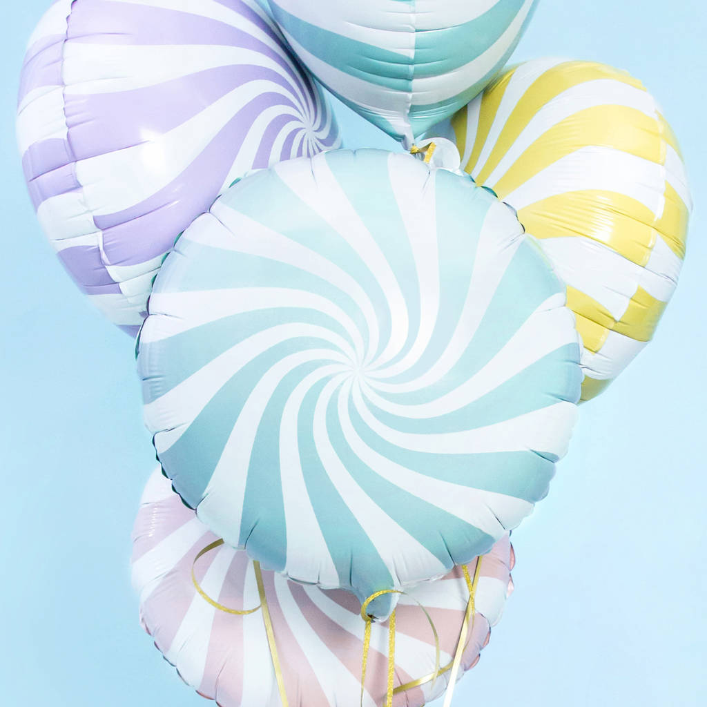 Pastel Candy Swirl Foil Balloons