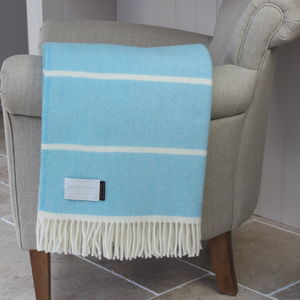 Blue Stripe Wool Throw - sale