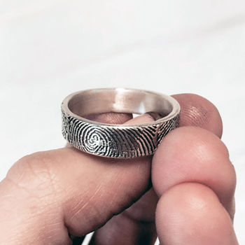 Black Finished Fingerprint Ring