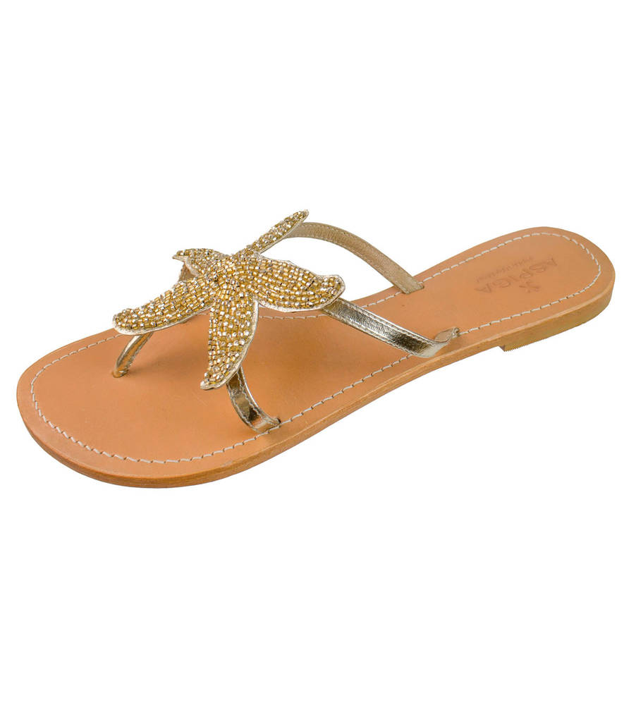 bcc31334c8a8f Gold Starfish Beaded Flat Leather Sandals