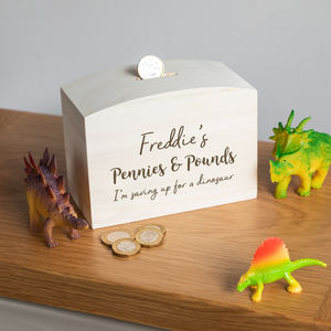 Personalised Childrens Pennies And Pounds Money Box