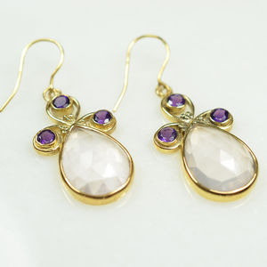 Nikita Earrings Rose Quartz Amethyst - earrings