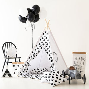 Monochrome Kids Teepee Tent Set With Window - outdoor toys & games