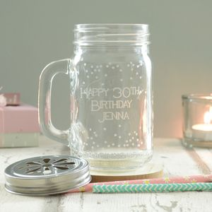 Happy 30th Birthday Personalised Spotty Drinking Jar - new lines added