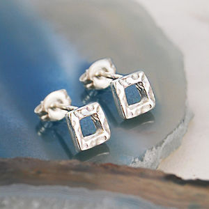 Battered Square Silver Stud Earrings