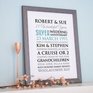 Personalised Silver Wedding Anniversary Art - family & home