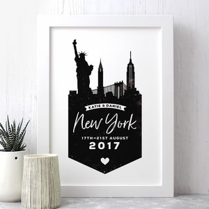 Personalised New York Memento Print - maps & locations
