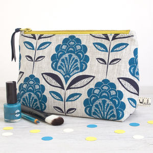 Peacock Flower Print Make Up Bag - make-up bags