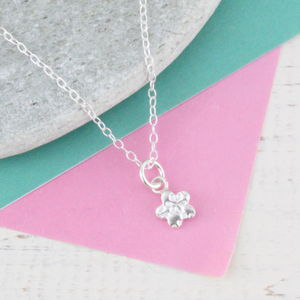 Personalised Mini Sterling Silver Flower Pendant - children's jewellery