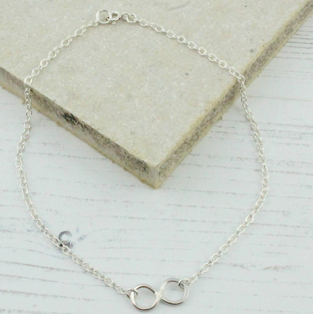 rose large infinity and context plated p silver bracelet anklet gold