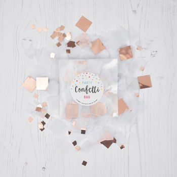 Rose Gold And White Party Confetti Bag