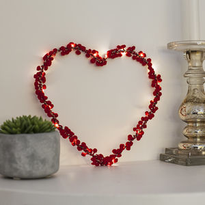 Fairy Light Pom Pom Heart Decoration