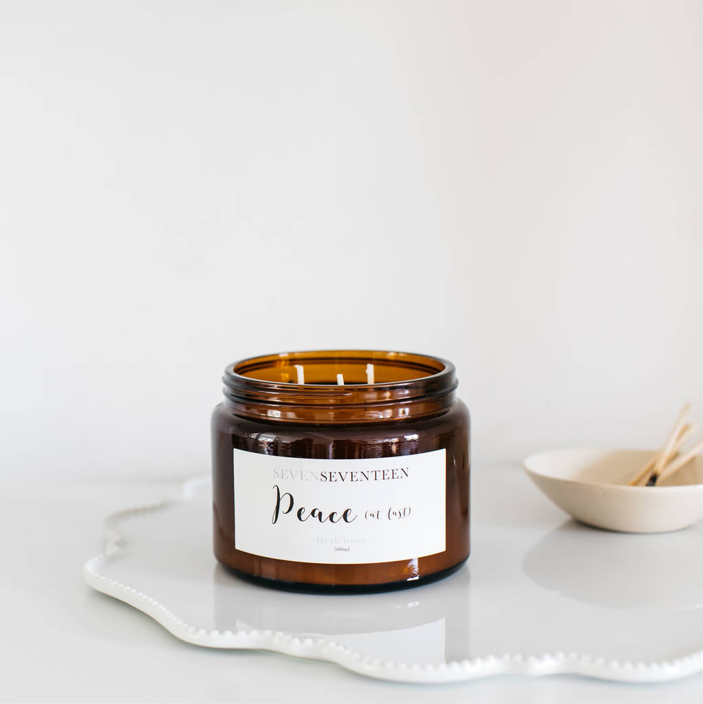 'peace At Last' Fresh Linen Scented Candle by Sevenseventeen