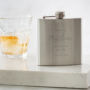 Personalised Engraved Best Man Hip Flask - wedding thank you gifts sale