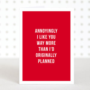 'Unexpected' Funny Valentines Day Card - what's new