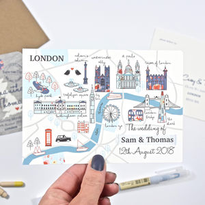 Illustrated London Map Wedding Invitation