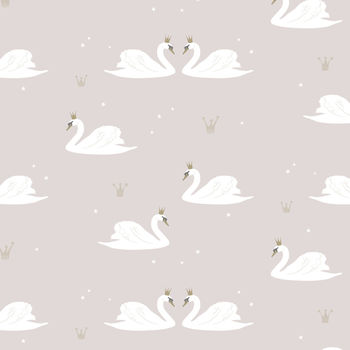 Swans wallpaper swatch - Pale Rose