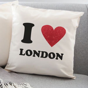 I Love Personalised Red Glitter Heart Cushion - cushions