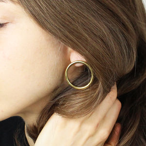 Modern 18ct Gold Handmade 'Luna' Circle Stud Earrings