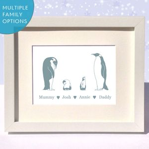 Personalised Penguin Family Print Gift - animals & wildlife