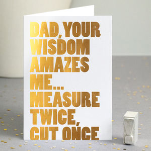 Funny Father's Day Card In Gold Foil