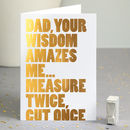 Funny Dad Thank You Card In Gold Foil