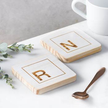 Personalised White Initial Coaster Set