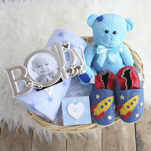 Deluxe Boy New Baby Gift Basket - gift sets