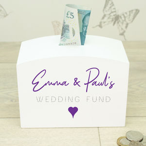 Personalised White Wooden Wedding Fund Money Box