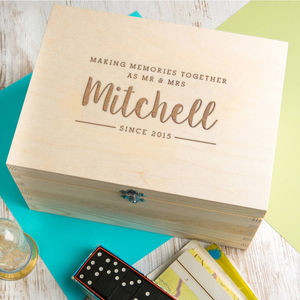 Personalised Mr And Mrs Couples Engagement Keepsake Box
