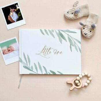 Baby Memory Book Olive With Gold Foil