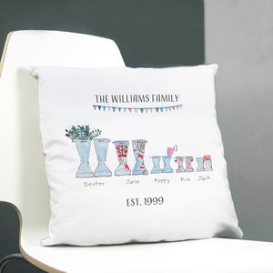 Personalised Welly Boot Family Cushion - personalised cushions