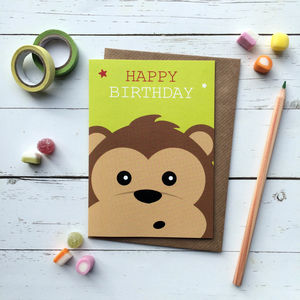 Cute Monkey Birthday Card - birthday cards