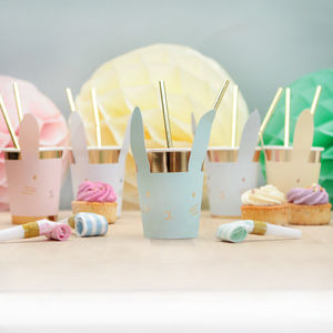 Pastel And Gold Bunny Rabbit Cups