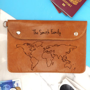 World Map Personalised Leather Family Travel Wallet