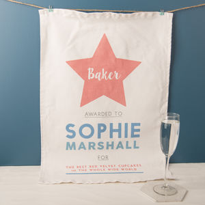 Personalised Star Baker Tea Towel - aspiring chef