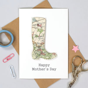 Personalised Gardening Mother's Day Map Welly Card - mother's day cards