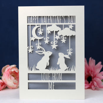 Personalised Papercut Bunny Valentine's Card