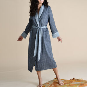 Ladies Cotton Dressing Gown In Grey Dobby Weave