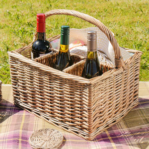 Personalised Wicker Bottle Carrier And Picnic Basket