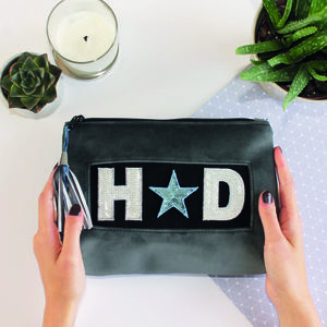 Personalised Grey Velvet Beauty Bag