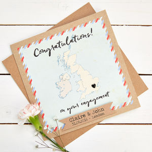Map Engagement Card Personalised United Kingdom - wedding, engagement & anniversary cards