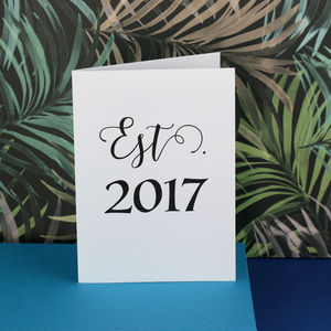 Est. Year Personalised Anniversary Card - wedding cards