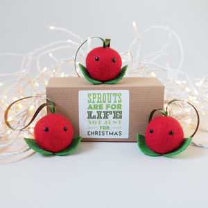 Christmas Cranberries Set Of Three - tree decorations