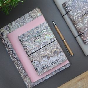 Marbled Leather Diary And Journal