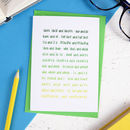 Ombre Green Grammar Card